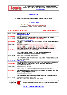 ıconte 2016 program - International Conference on New Trends in