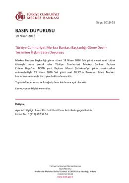 Türkiye Cumhuriyet Merkez Bankası Başkanlığı Görev Devir