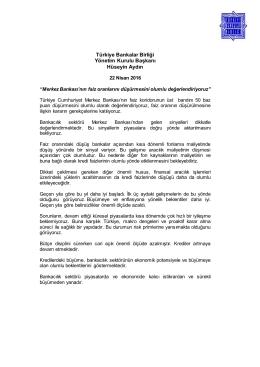 Türkiye Bankalar Birliği Yönetim Kurulu Başkanı Hüseyin Aydın