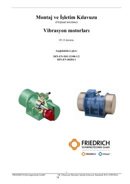 Montaj ve İşletim Kılavuzu Vibrasyon motorları