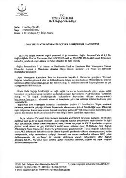 2016 Mayıs Ayı Il - İzmir Halk Sağlığı Müdürlüğü