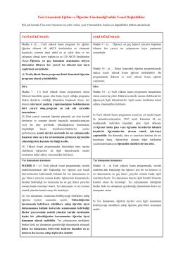 Yeni Lisansüstü Eğitim ve Öğretim Yönetmeliği`ndeki Temel