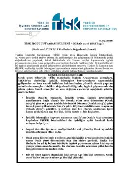 Tisk İşgücü Piyasası Bülteni – Nisan 2016 Dökümanı İçin Tıklayınız