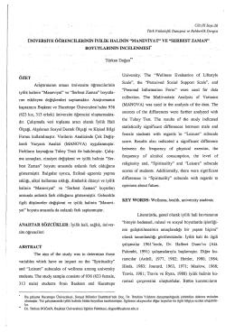 SERBEST ZAMAN - Türk Psikolojik Danışma ve Rehberlik Dergisi