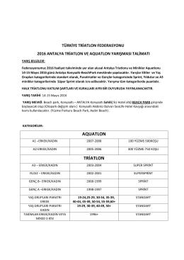 2016 Antalya Triatlon Ve Aquatlon Yarışma Talimatı