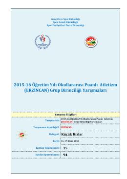 2015-16 Öğretim Yılı Okullararası Puanlı Atletizm (ERZİNCAN) Grup