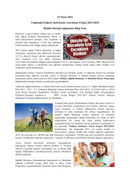 Toplumda Fiziksel Aktivitenin Artırılması Projesi 2015-2018