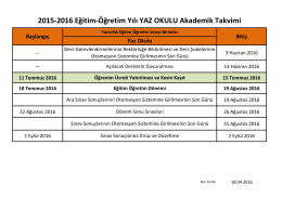 2015-2016 Eğitim-Öğretim Yılı YAZ OKULU Akademik Takvimi