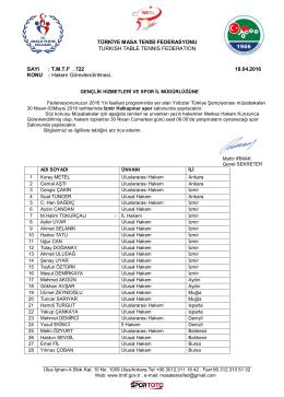 30 Nisan-03 Mayıs 2016 Yıldızlar Türkiye Şampiyonası (İZMİR)
