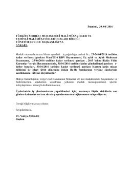 İstanbul, 20 /04/ 2016 TÜRKİYE SERBEST MUHASEBECİ