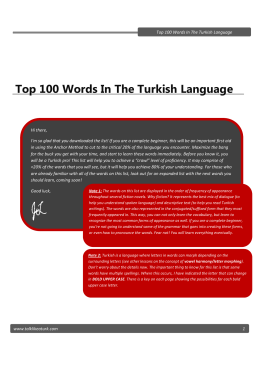 Top 100 Words In The Turkish Language