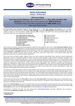 JCR Eurasia Rating, Timur Gayrimenkul Geliştirme Yapı ve Yatırım A