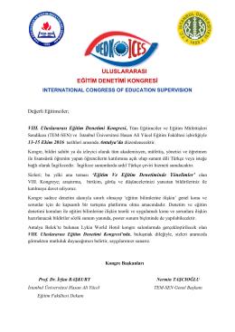 Kongre Çağrısı - uluslararası eğitim denetimi kongresi