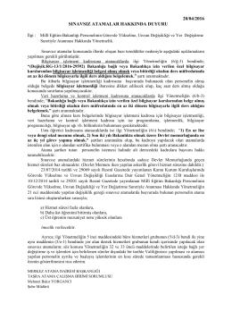 20/04/2016 sınavsız atamalar hakkında duyuru