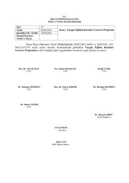 Hayat Boyu Öğrenme Genel Müdürlüğünün 30/03/2016 tarihli ve
