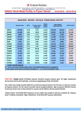 Haftalık Teknik Model Portföy ve Piyasa Takvimi