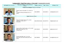 TARMAKBİR YÖNETİM KURULU ÜYELERİ/ TARMAKBİR BOARD
