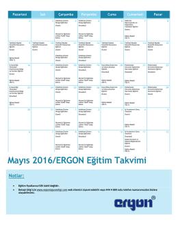 Mayıs 2016/ERGON Eğitim Takvimi - İş Sağlığı ve Güvenliği Eğitim