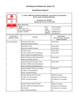 Akreditasyon Sertifikası Eki. (Sayfa 1/3) Akreditasyon Kapsamı