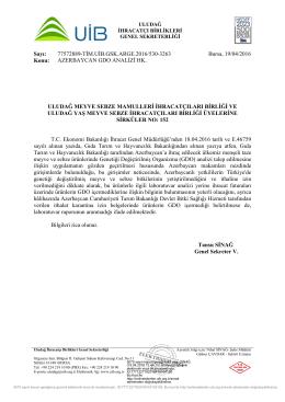 AZERBAYCAN GDO ANALİZİ HK. - Uludağ İhracatçı Birlikleri