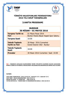 burdur grup yarışması programı 30 nisan – 01 mayıs 2016