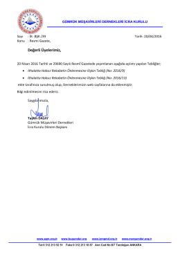 2016.04.20 İK-BŞK-39 İcra Kurulu Ortak Duyurusu