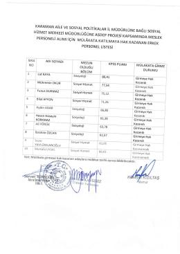 Kazandr - Karaman Aile ve Sosyal Politikalar İl Müdürlüğü