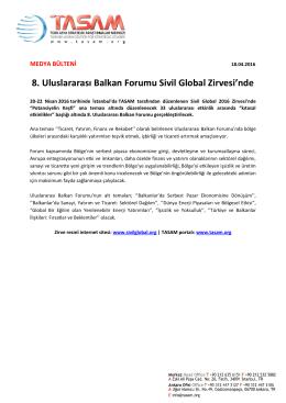 8. Uluslararası Balkan Forumu Sivil Global Zirvesi`nde