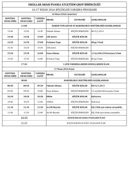 okullar arası puanlı atletizm grup birinciliği 16