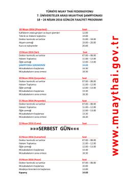 serbest gün - Türkiye Muaythai Federasyonu