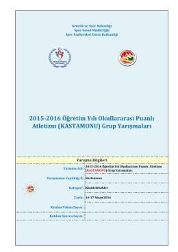 2015-2016 Öğretim Yılı Okullararası Puanlı Atletizm (KASTAMONU