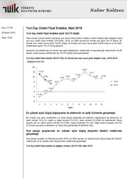 Yurt Dışı Üretici Fiyat Endeksi-(Mart 2016