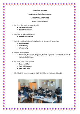 6. sınıflar Almanca Bülteni
