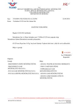 22.04.2016 - Devlet Demir Yollari 6.Bölge