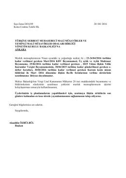 Sayı:İsmo/2016/89 20 /04/ 2016 Konu:Uzatma Talebi Hk. TÜRKİYE