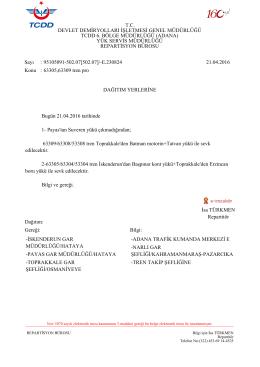 21.04.2016 - Devlet Demir Yollari 6.Bölge