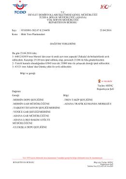 23.04.2016 - Devlet Demir Yollari 6.Bölge