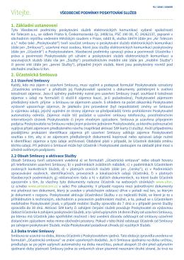 1. Základní ustanovení 2. Účastnická Smlouva