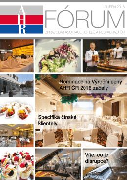 ahr fórum- duben 2016 - Asociace hotelů a restaurací České republiky