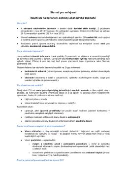 Shrnutí pro veřejnost Návrh EU na zpřísnění ochrany obchodního
