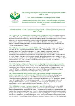 20té výročí globálně prodávaných biotechnologických (GM