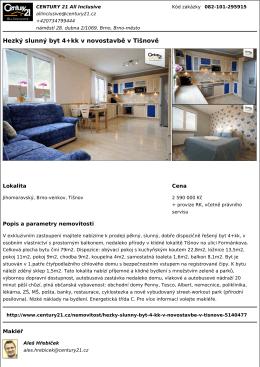 Hezký slunný byt 4+kk v novostavbě v Tišnově