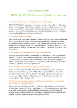 Otázky/Odpovědi: TIENS DiCHO Čistič ovoce a zeleniny II. generace