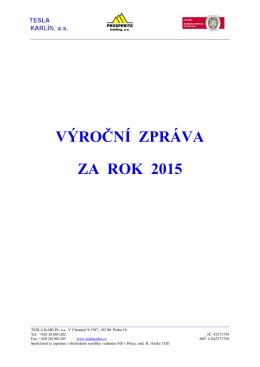 výroční zpráva za rok 2015