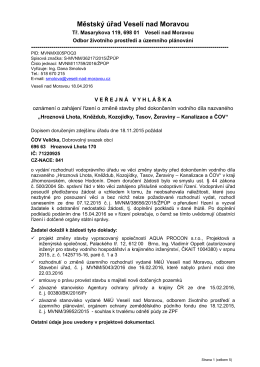 Veř. vyhláška - změna stavby před dokončením ČOV