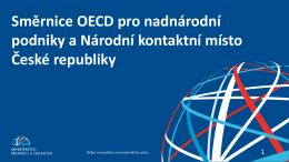 Směrnice OECD pro nadnárodní podniky a Národní kontaktní místo