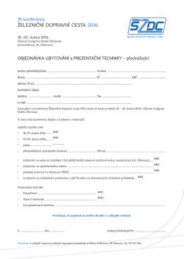 Přihláška a objednávka prezentační techniky