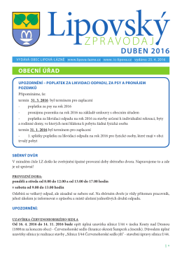 Lipovský zpravodaj duben 2016 - Lipová