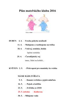 Plán mateřského klubu 2016 DUBEN: 4. 4.