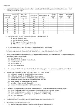Seminář 6 1. Za pomoci následující tabulky spočtěte celkové